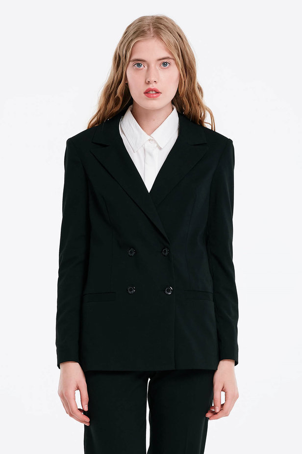 Double-breasted black jacket with pockets photo 1 - MustHave online store