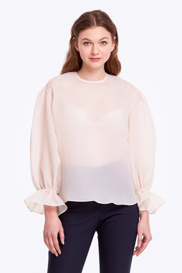 Beige organza blouse with balloon sleeves photo 1 - MustHave online store