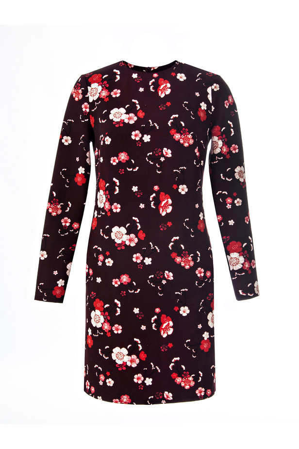 A-line burgundy dress with a floral print photo 2 - MustHave online store