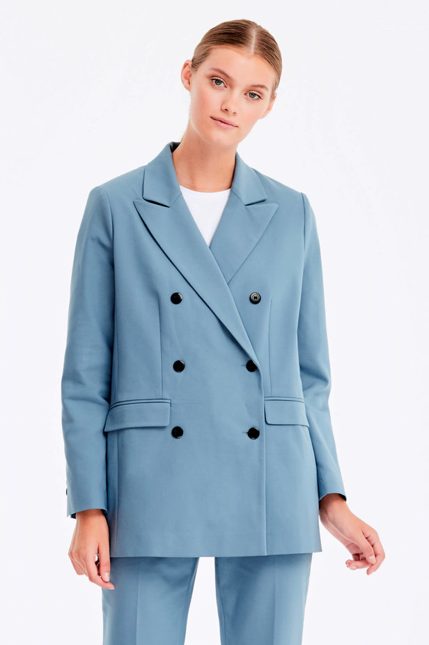 Double-breasted blue jacket with pockets photo 1 - MustHave online store