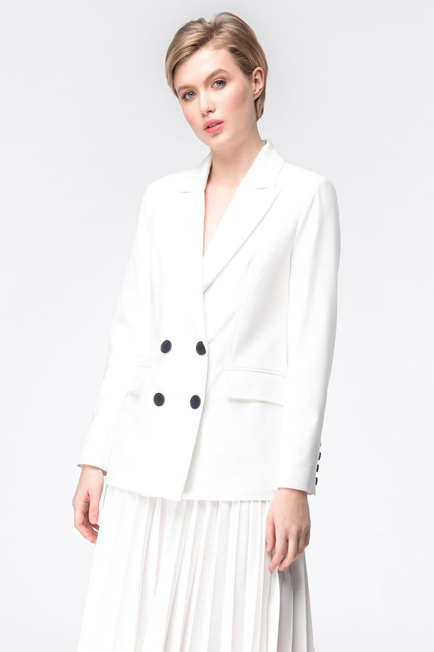 White double-breasted jacket photo 1 - MustHave online store