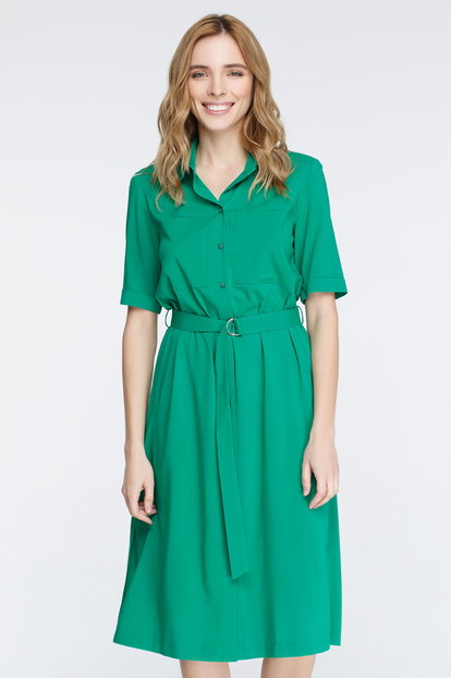 Green button-down dress with chest pockets