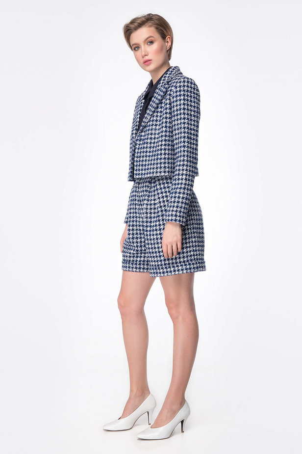Shortened jacket with blue&white houndstooth print photo 5 - MustHave online store