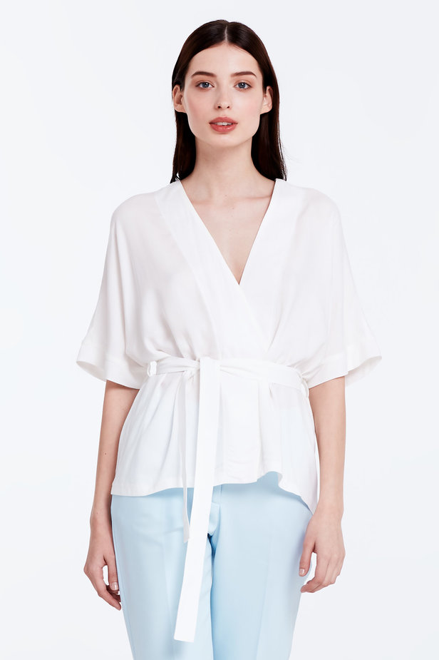 Wrap white shirt with a belt photo 1 - MustHave online store