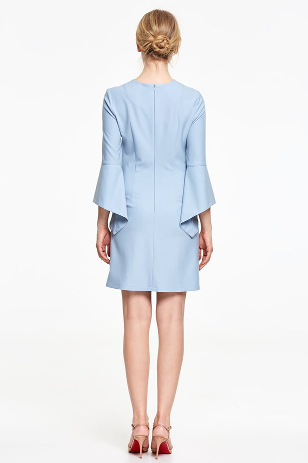 Above the knee blue dress with flounced sleeves photo 4 - MustHave online store