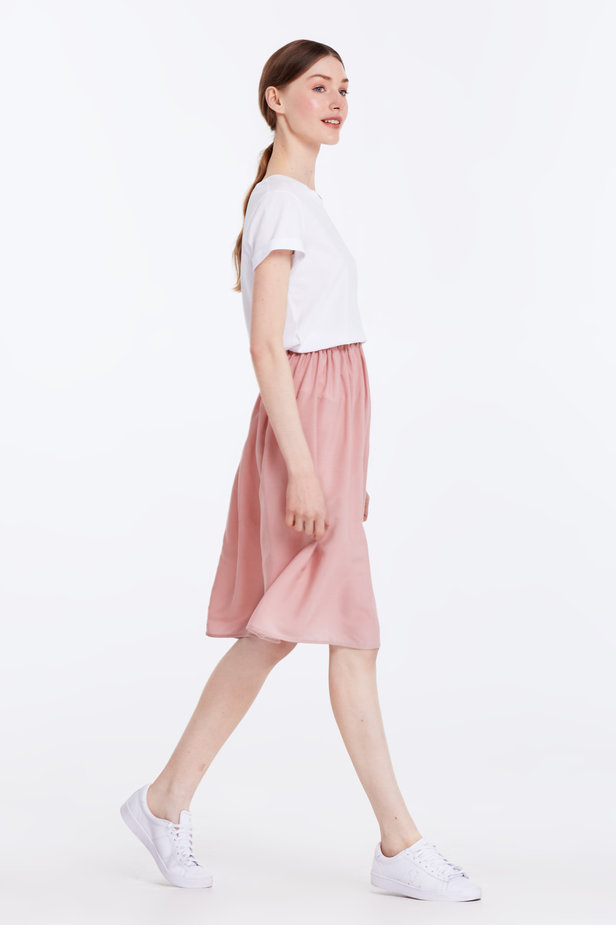 Below the knee powder pink skirt with an elastic waistband photo 4 - MustHave online store