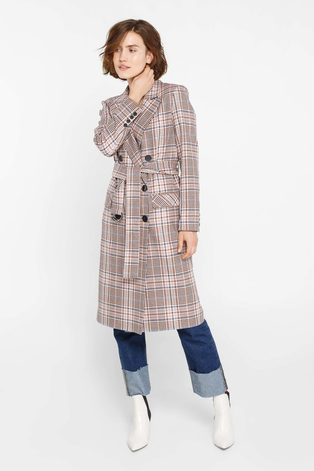 Beige plaid suit fabric trenchcoat photo 4 - MustHave online store