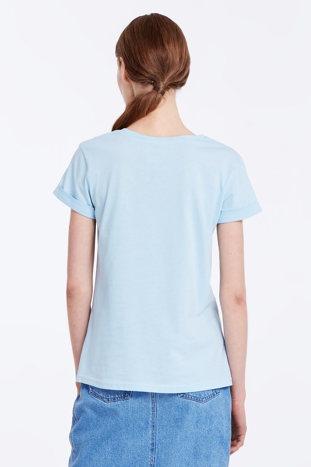 Blue T-shirt with cuffs photo 4 - MustHave online store
