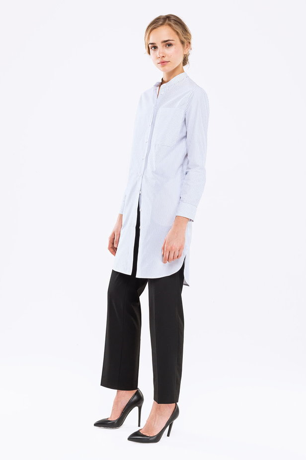 Long white shirt with blue stripes photo 3 - MustHave online store