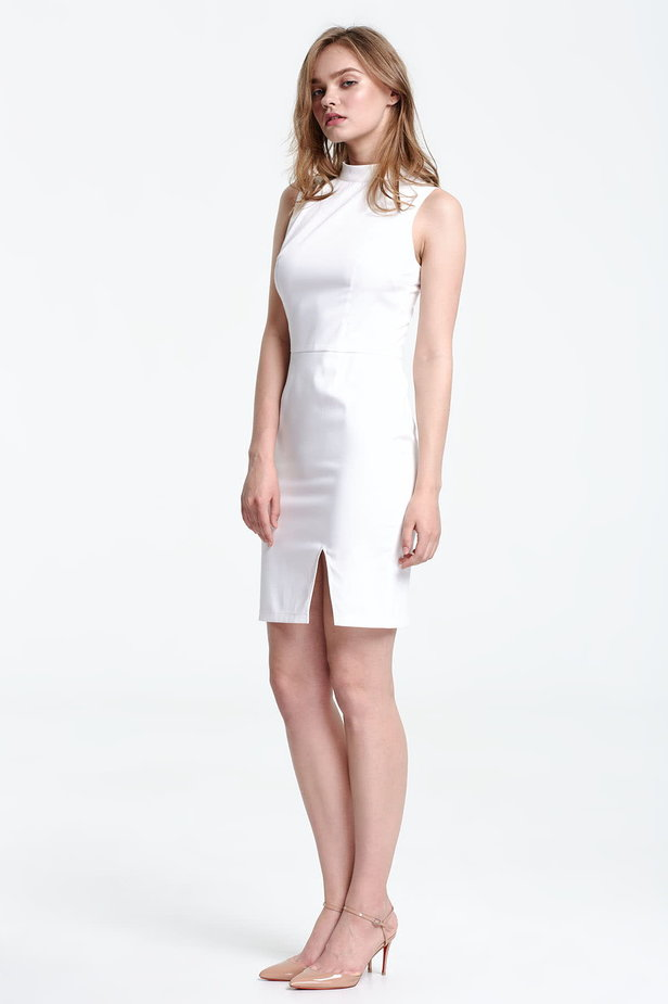 Above the knee white dress with a slit photo 2 - MustHave online store