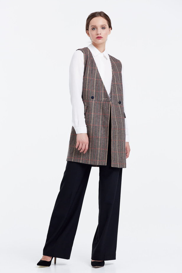 Long vest with a brown houndstooth print photo 5 - MustHave online store