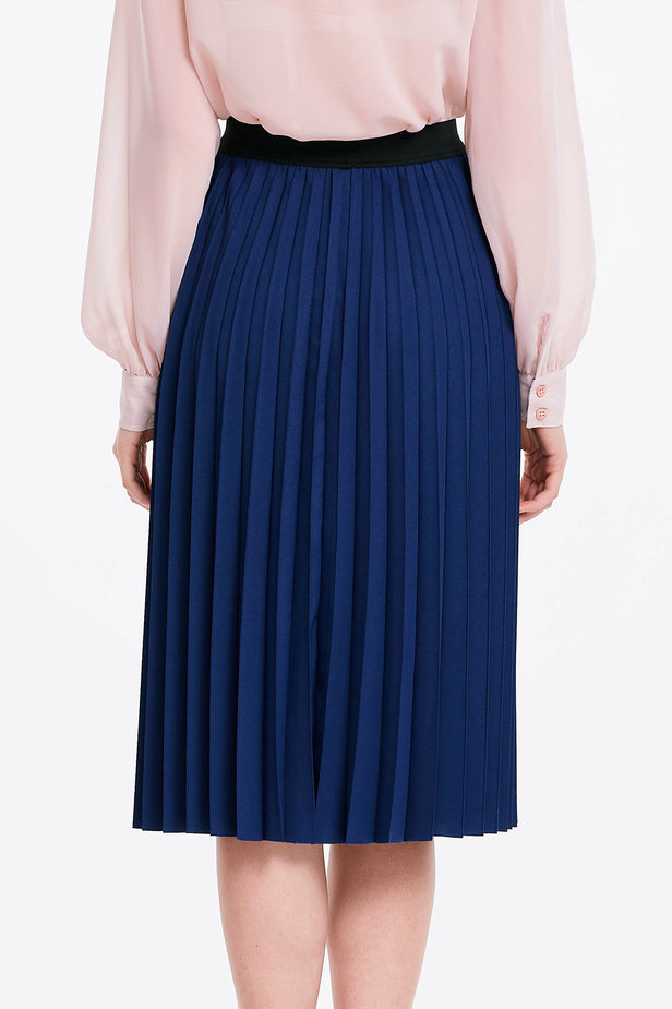 Below the knee pleated blue skirt photo 2 - MustHave online store