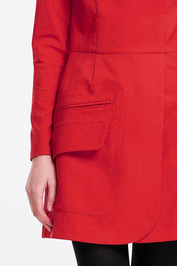 Wrap red dress with a pocket photo 5 - MustHave online store