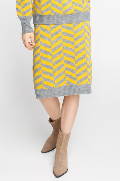 Grey and yellow herringbone skirt with wool and mohair