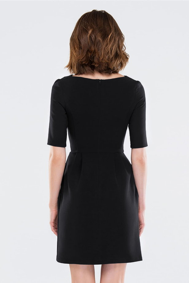 Black dress with folds photo 2 - MustHave online store