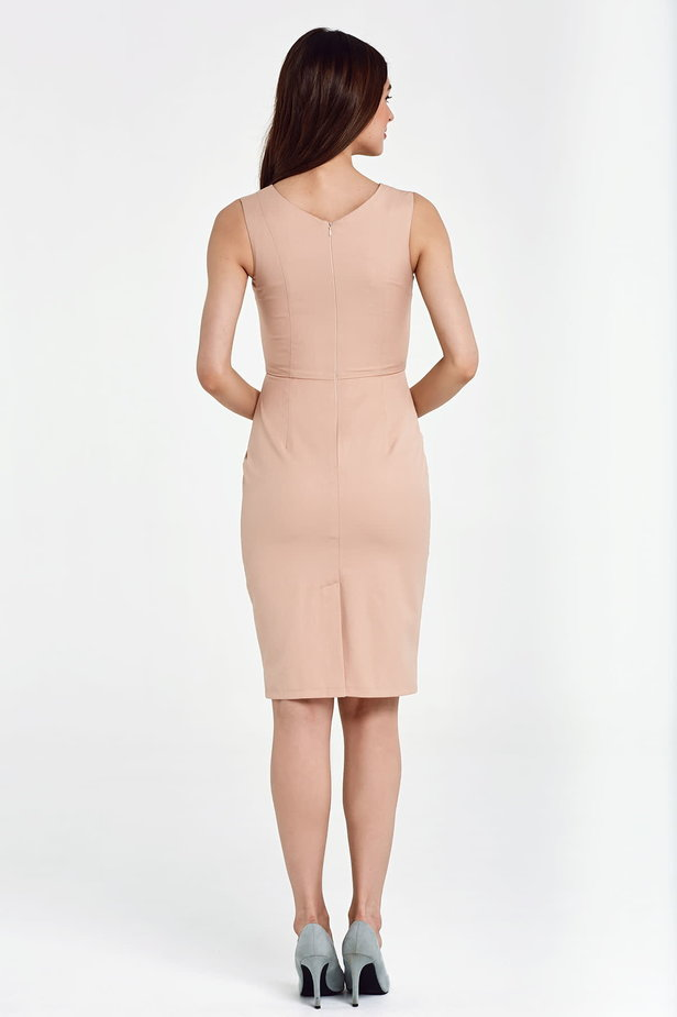 Above the knee column beige dress photo 3 - MustHave online store