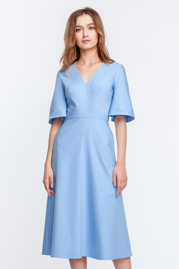 Below the knee V-neck blue dress with flared sleeves photo 1 - MustHave online store