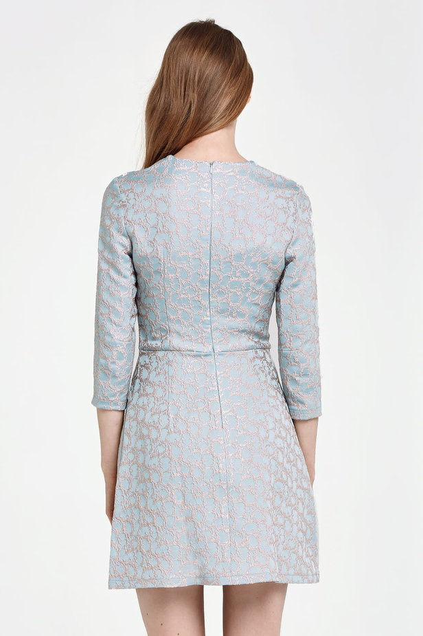 Above the knee A-line blue dress with a beige print photo 5 - MustHave online store