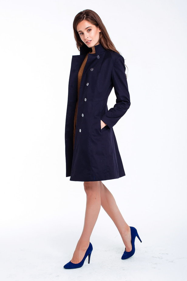 Blue trenchcoat with a stand up collar photo 6 - MustHave online store