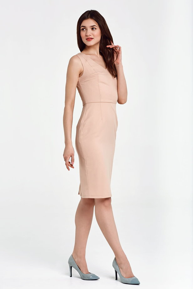 Above the knee column beige dress photo 5 - MustHave online store