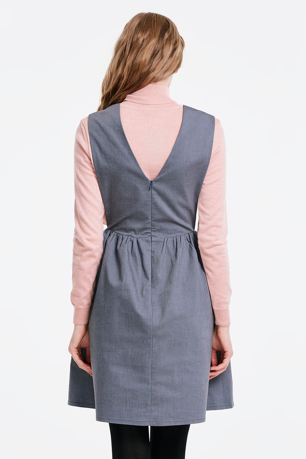 V-neck grey sundress photo 2 - MustHave online store