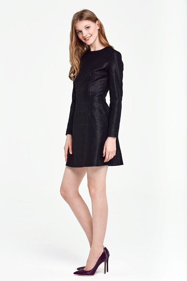 Above the knee A-line black dress with lurex photo 3 - MustHave online store