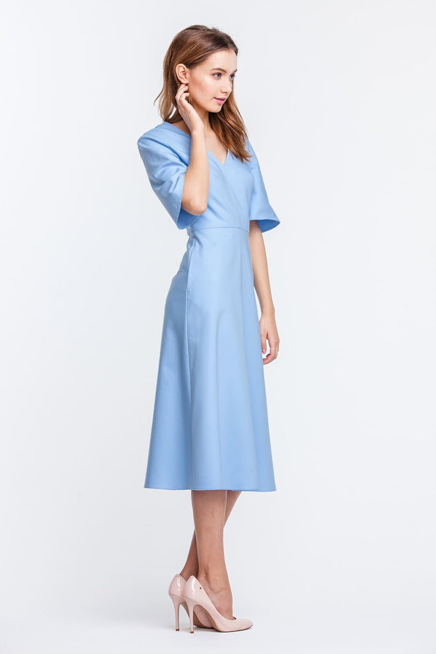 Below the knee V-neck blue dress with flared sleeves photo 3 - MustHave online store
