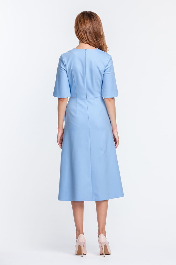 Below the knee V-neck blue dress with flared sleeves photo 4 - MustHave online store
