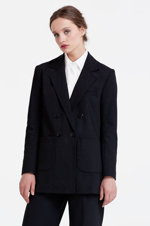 Double-breasted black jacket with patch pockets