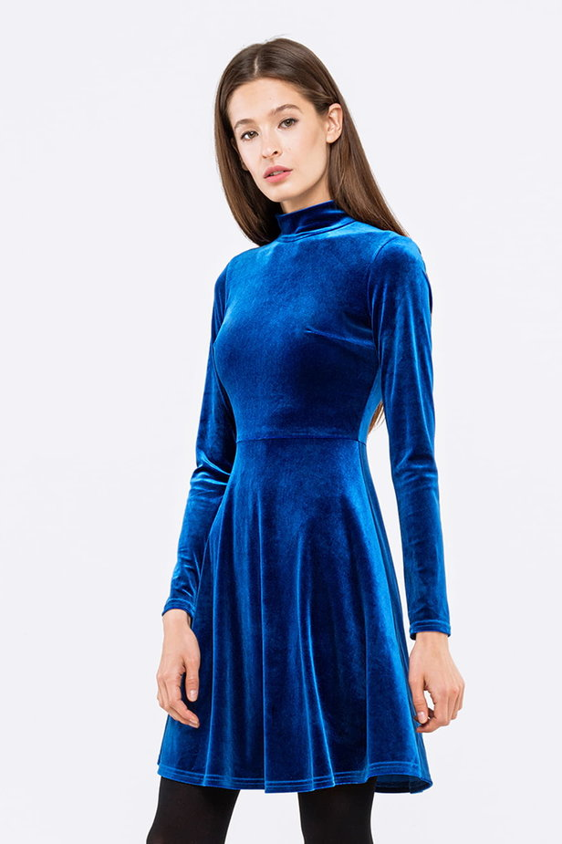 Blue A-line velour dress photo 1 - MustHave online store