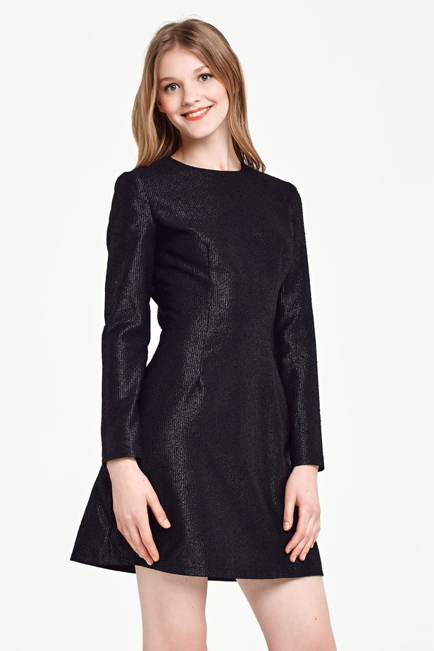Above the knee A-line black dress with lurex photo 1 - MustHave online store