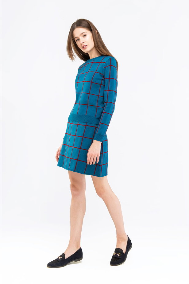 Checked cyan jumper photo 3 - MustHave online store