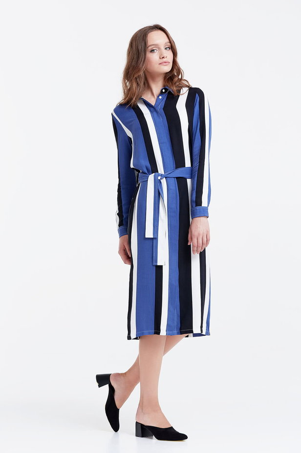 Shirt dress with black and blue stripes photo 4 - MustHave online store