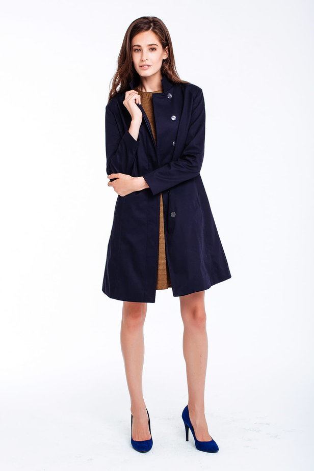 Blue trenchcoat with a stand up collar photo 1 - MustHave online store