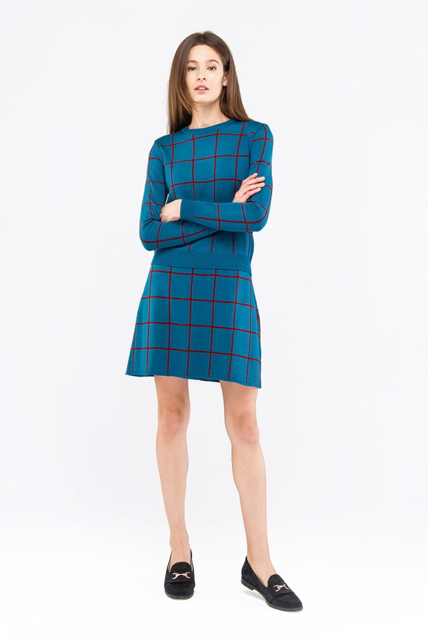 Checked cyan jumper photo 4 - MustHave online store