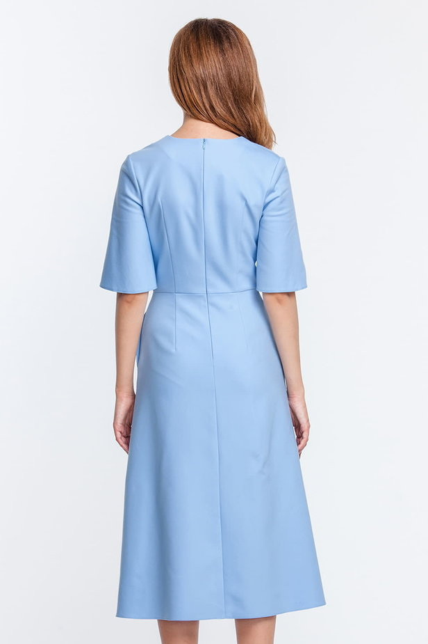 Below the knee V-neck blue dress with flared sleeves photo 2 - MustHave online store