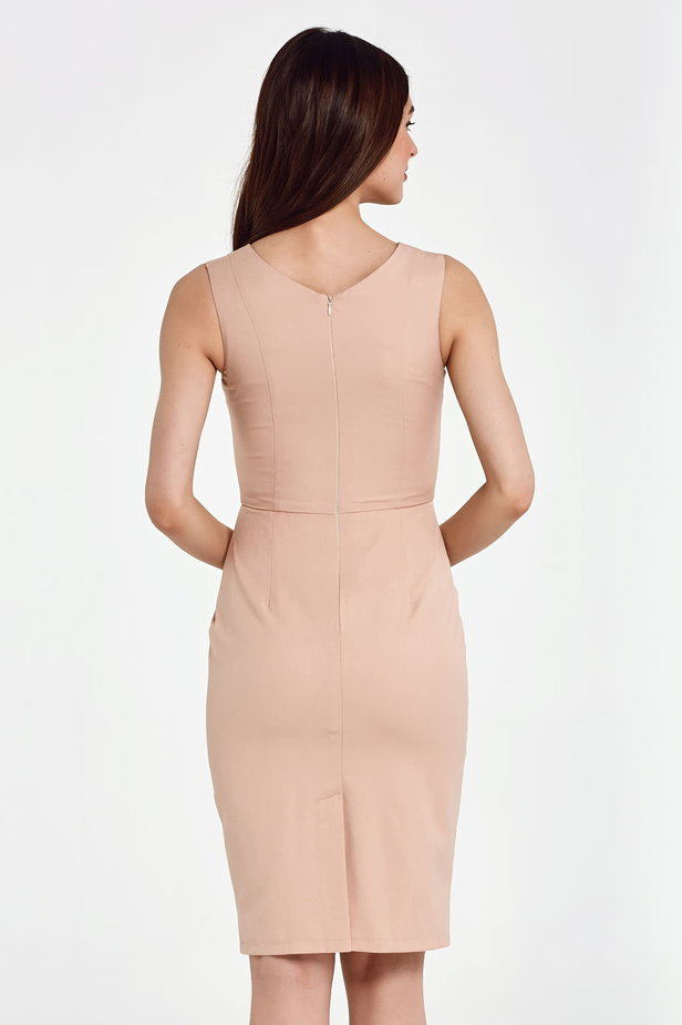 Above the knee column beige dress photo 4 - MustHave online store