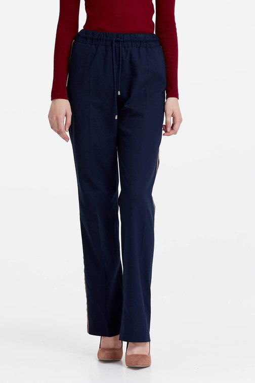 Dark blue trousers with stripes