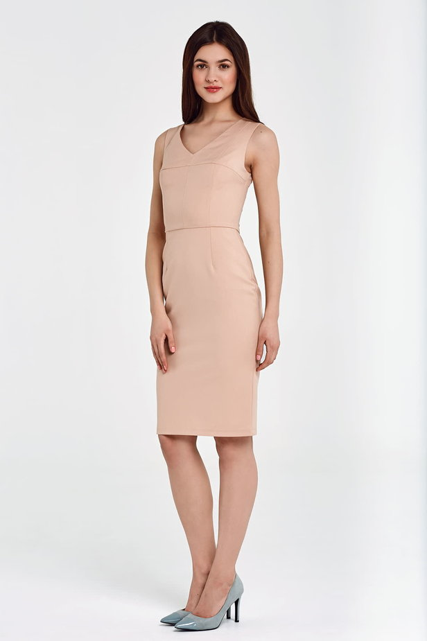 Above the knee column beige dress photo 2 - MustHave online store