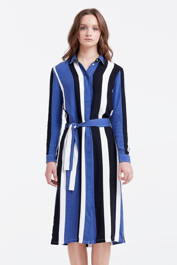 Shirt dress with black and blue stripes photo 1 - MustHave online store