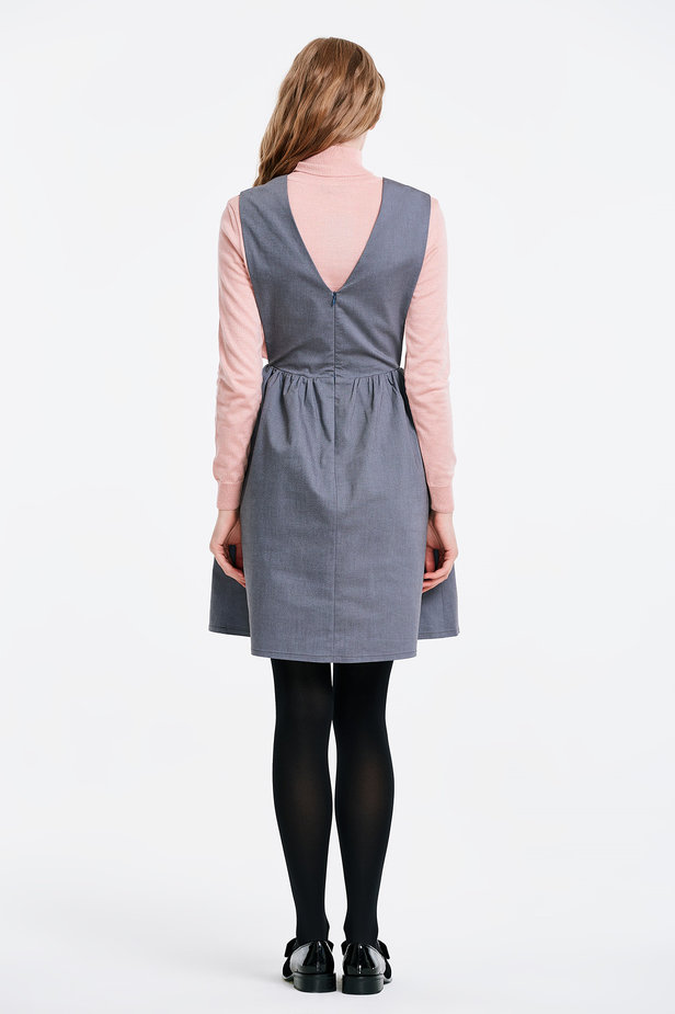 V-neck grey sundress photo 5 - MustHave online store