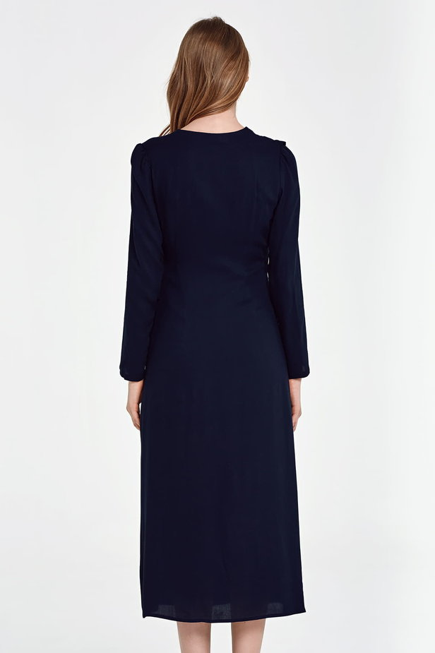 Midi wrap dark blue dress with a flounce photo 2 - MustHave online store