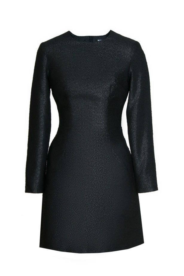 Above the knee A-line black dress with lurex photo 2 - MustHave online store