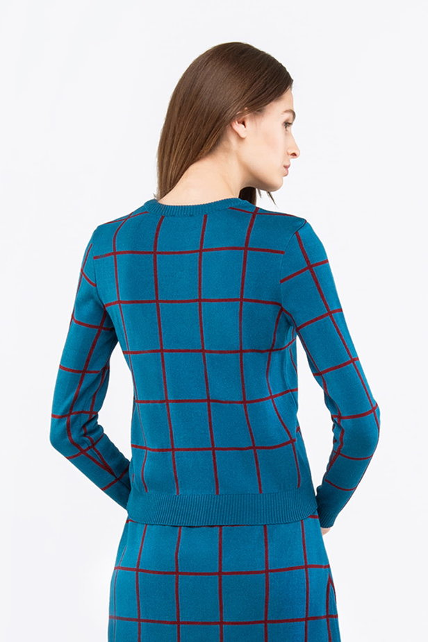 Checked cyan jumper photo 2 - MustHave online store