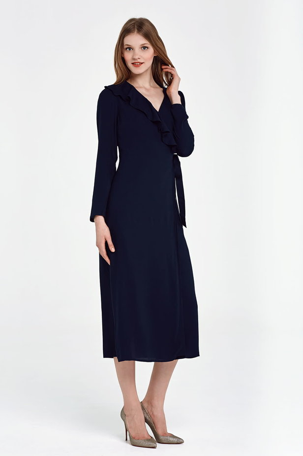 Midi wrap dark blue dress with a flounce photo 5 - MustHave online store