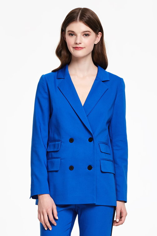 Double-breasted blue jacket with pockets