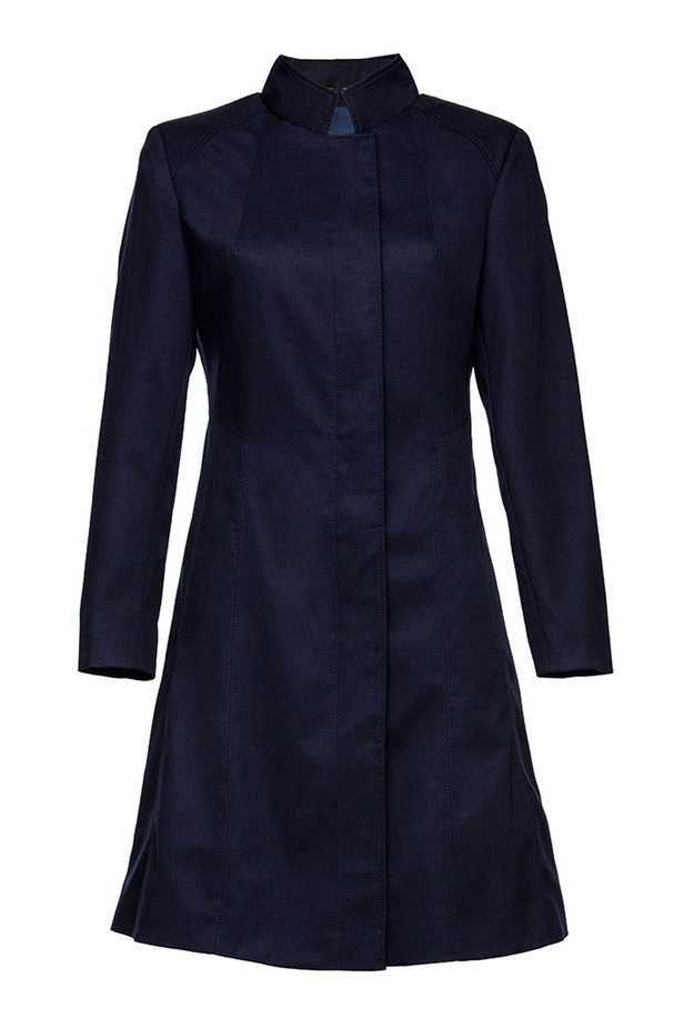 Blue trenchcoat with a stand up collar photo 2 - MustHave online store