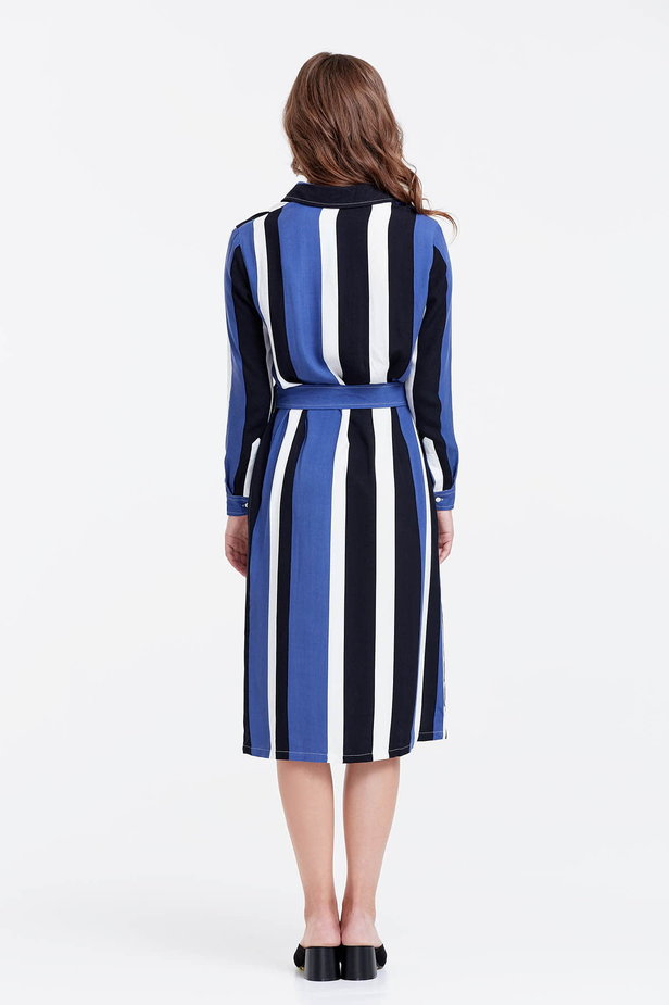 Shirt dress with black and blue stripes photo 5 - MustHave online store