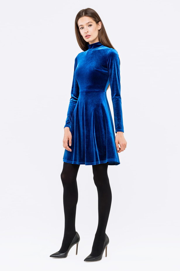 Blue A-line velour dress photo 4 - MustHave online store