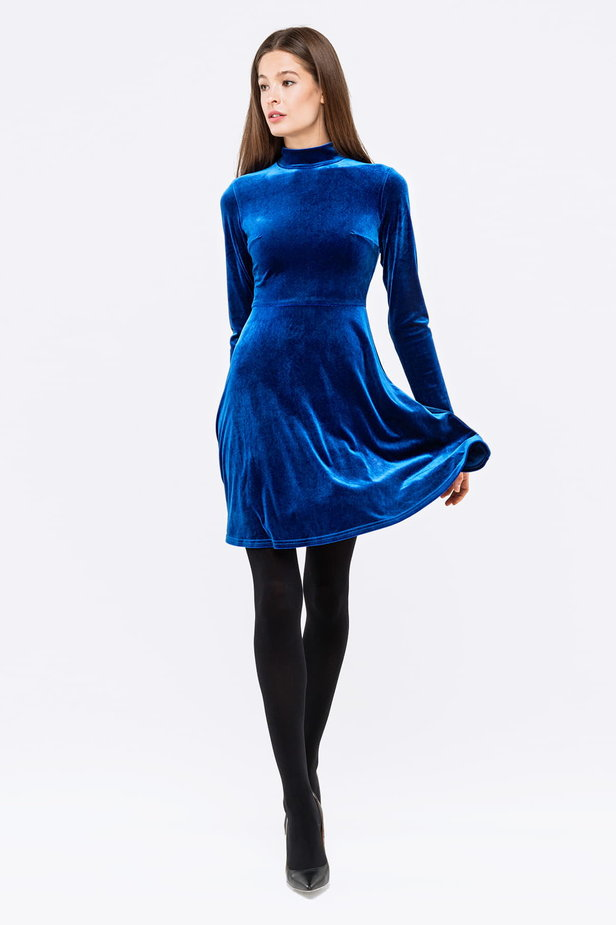 Blue A-line velour dress photo 3 - MustHave online store